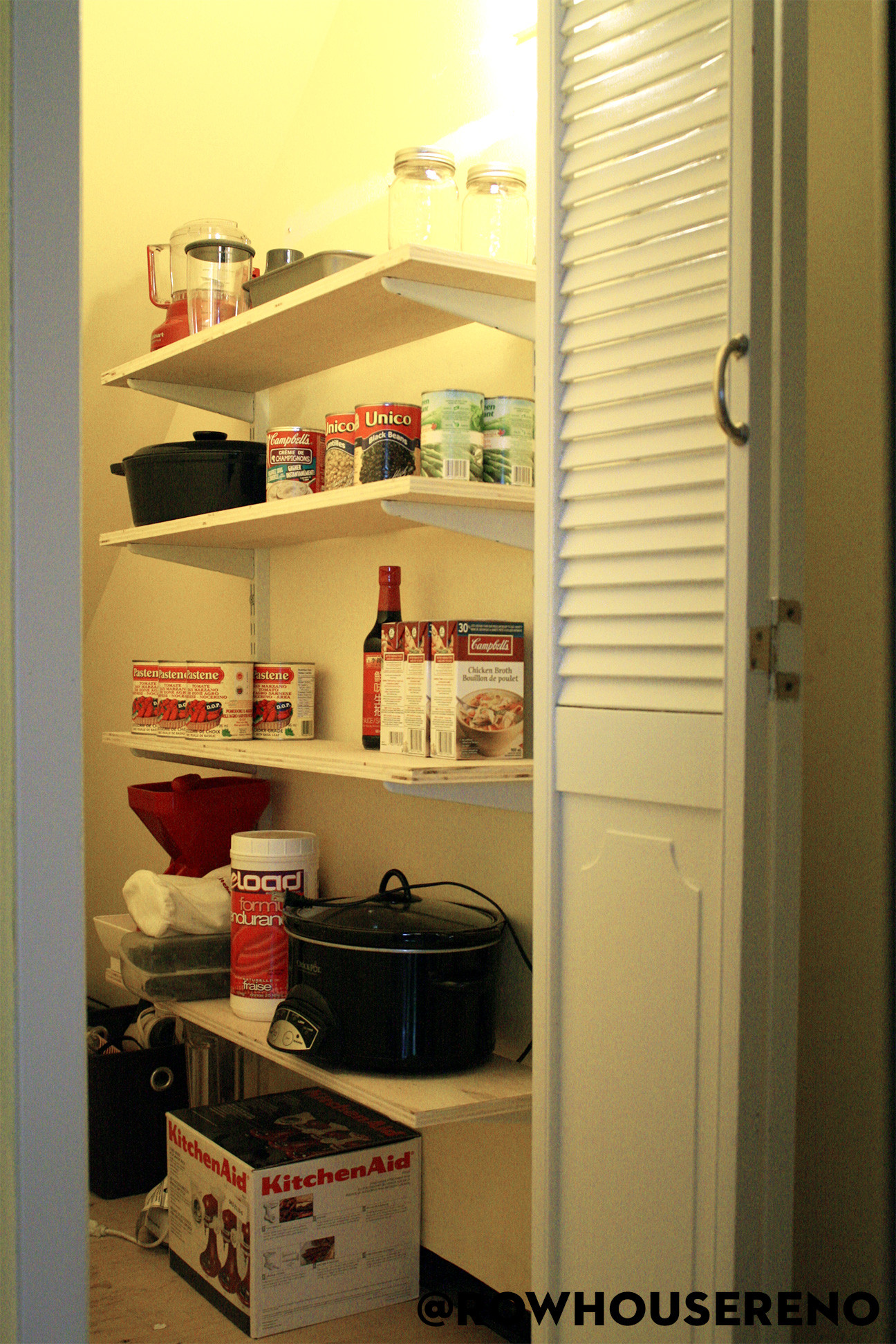 Diy pantry shelves row house reno for Best pantry shelving system